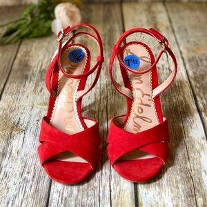 1edba27a0a1 Sam Edelman Shoes - NWT SAM EDELMAN Red Aly Ankle Strap Pump Heel 7.5